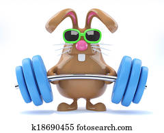 3d Bunny weightlifter
