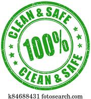 Clean and safe product green imprint