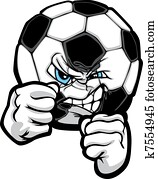 Fighting Soccer Ball Vector Illustr