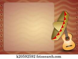 Guitar with mexican sombrero