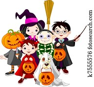halloween, trick behandlung, childr