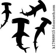 Hammerhead shark silhouettes
