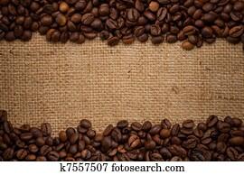 kaffeebohnen, auf, sackleinen, hintergrund