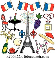 Paris France clipart elements icons