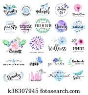 Set of beauty badges
