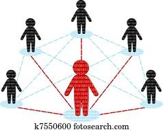 vernetzung, communication., mitarbeitergruppe, concept., vektor, abbildung