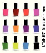 Bottles of nail polish in various shades. Vector set