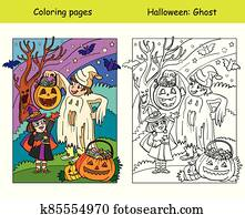 Coloring with colored example Halloween ghost and witch