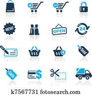 Shopping Icons / Azure