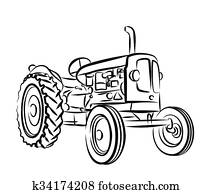 Sketch of old tractor.
