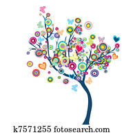 Colored happy tree with flowers and butterflies