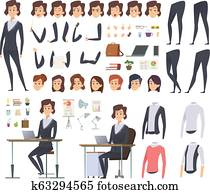 Female business animation. Director office manager woman body parts clothes and business wardrobe items vector character creation kit