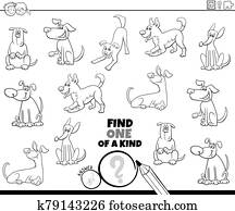 one of a kind game with dogs coloring book page