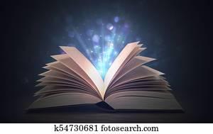 Open shining magic book on dark background. 3D rendered illustra