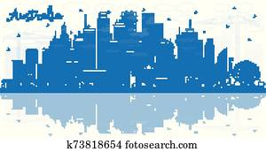Outline Australia City Skyline with Blue Buildings and Reflections.