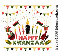 Banner for Kwanzaa with traditional colored and candles representing the Seven Principles or Nguzo Saba .