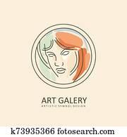 frauenportraets, aquarelle, und, strichzeichnung, stil