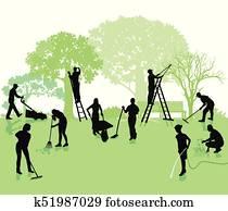 Garten mit Gartenarbeiten