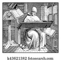 Medieval copyist, vintage engraving