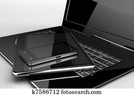 Mobile phone with pad and laptop