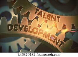 Talent Development on the Golden Gears. 3D Illustration.