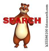 Bear cartoon character with search sign