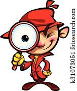 Cartoon cute detective investigation with red coat and magnifying glass