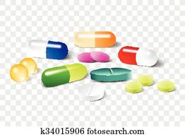Different vector pills on a transparent background