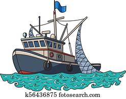 Fishing boat in the sea. Vector illustration isolated on white background.