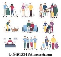 Young volunteers set. Flat vector illustration collection. Help the homeless, scavengery, helping to disabled and elderly people, animals, tree planting. Volunteering concept.