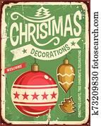 Christmas ornaments sale vintage tin sign