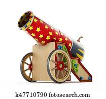 Circus cannon isolated on white background. 3D illustration
