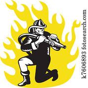 fireman firefighter kneel aim fire hose