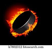 Hockey Puck in Fire