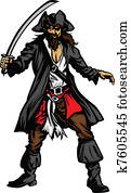 Pirate Mascot Standing with Sword