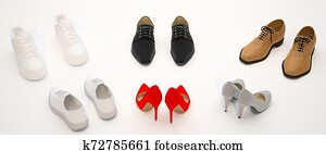 Set of women's and men's shoes. Beige, red and white shoes isolated on light background.