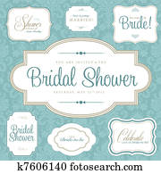 Vector Bridal Shower Frame Set