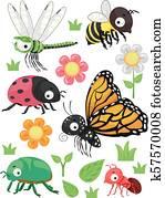 insekten, blumen, elemente, abbildung