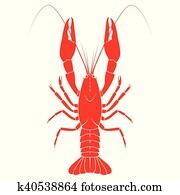 Red crayfish vector flat illustration isolated on white background. Fresh seafood icon.