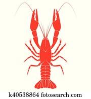 rot, crayfish, vektor, flache, abbildung, freigestellt, wei?, hintergrund., frische meeresfrüchte, icon.
