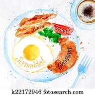 Breakfast watercolors bacon eggs