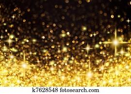 goldenes, weihnachtsbeleuchtung, und, sternen, hintergrund