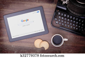 HEERENVEEN, NETHERLANDS - JUNE 6, 2015: Google is an American multinational corporation specializing in Internet-related services and products. Most of its profits are derived from AdWords.