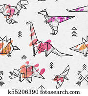 Ink origami dinosaurs with abstract colorful splash seamless pattern. Fun design for background, fabric, wrapping.