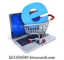 Laptop and abstract e-shop cart