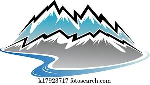 mountains,, spitzen, und, fluss