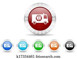 ambulance icon christmas set