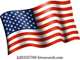 American Flag Flat Waving