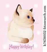 Clip Art Buon Compleanno Cartolina Auguri Con Poco Gattino Su