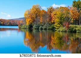 Fall Foliage reflected on the surface of Price Lake, Blue Ridge Parkway